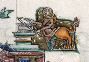 Monkey sawing books (Courtesy British Library, Add. 49622, f.146)