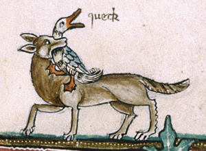 Detail of a marginal scene of a fox seizing a duck, with 'sound effects' added in a later hand, reading 'queck'. Courtesy British Library, Add MS 49622, f. 190v