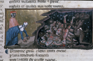 Cerberus (strangely human) feasts on the gluttons condemned to Hell (Courtesy British Library MS Egerton 943, f. 12r)